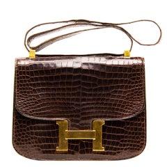 Hermès Brown Crocodile Constance 23cm Bag