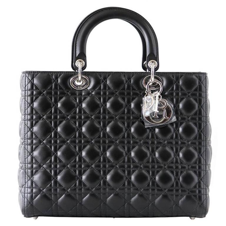 Christian Dior Bag Lady Dior Black Cannage Lambskin Large NWT For Sale
