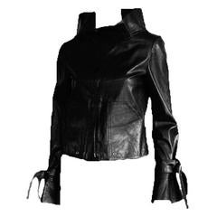 That Absolutely Heavenly Tom Ford Gucci SS 2003 Black Leather Runway Jacket! 40
