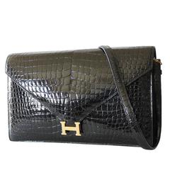 1970s Hermes Black Crocodile Porosus Lisse Lydie 2way Shoulder Rare