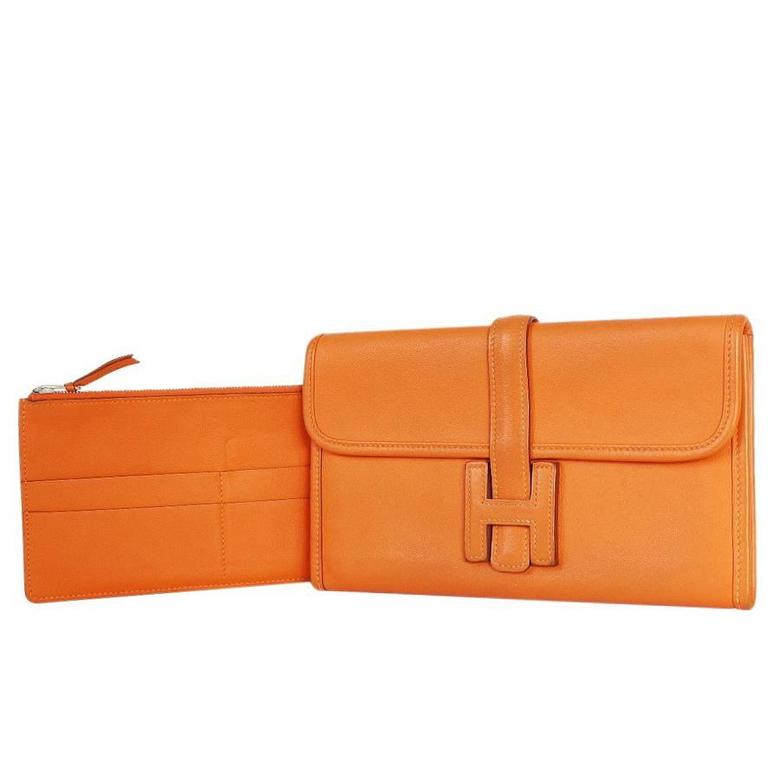 Hermes Jige Duo Clutch Bag With Zippy, Orange Swift Leather For Sale