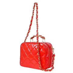 Vintage Chanel Red Patent 2way Lunch Box Cross Body Bag Rare