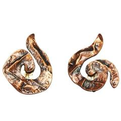 Rare Arabesque YSL copper earrings late 70s