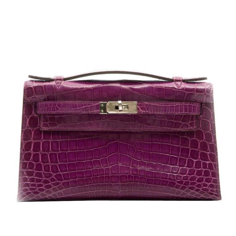 Hermes Niloticus Crocodile Kelly Pochette Bag 1