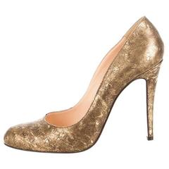 New Christian Louboutin Metallic Ostrich Pumps