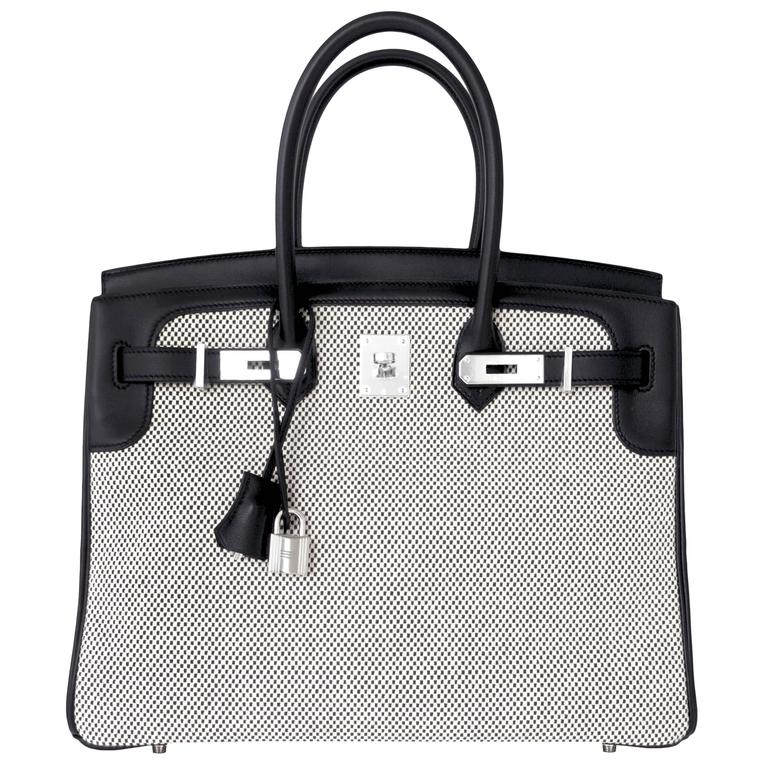e5ea585b5bf4 ... switzerland hermes black swift leather 35cm birkin ecru graphite criss  cross toile vip for sale e0318