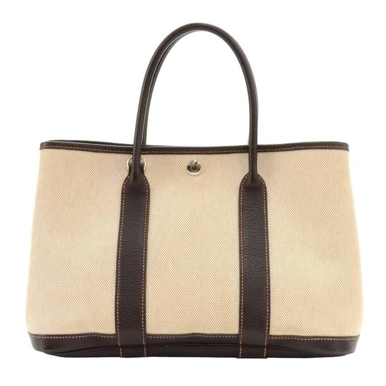 Hermes Garden Party TPM Chocolate Brown Leather Beige Canvas Hand Bag