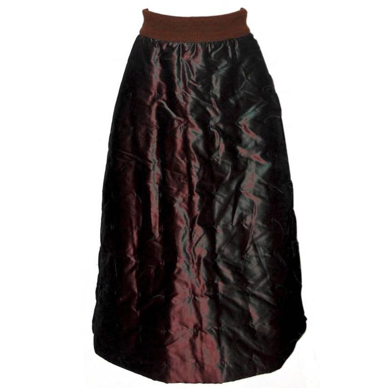 CHANEL Iridescent Brown Quilted Silk A-line Skirt