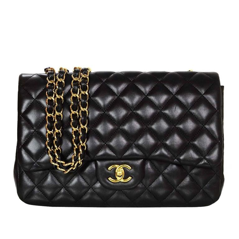 d8d4395e75cc Chanel Black Lambskin Leather Single Flap Jumbo Bag with GHW For Sale