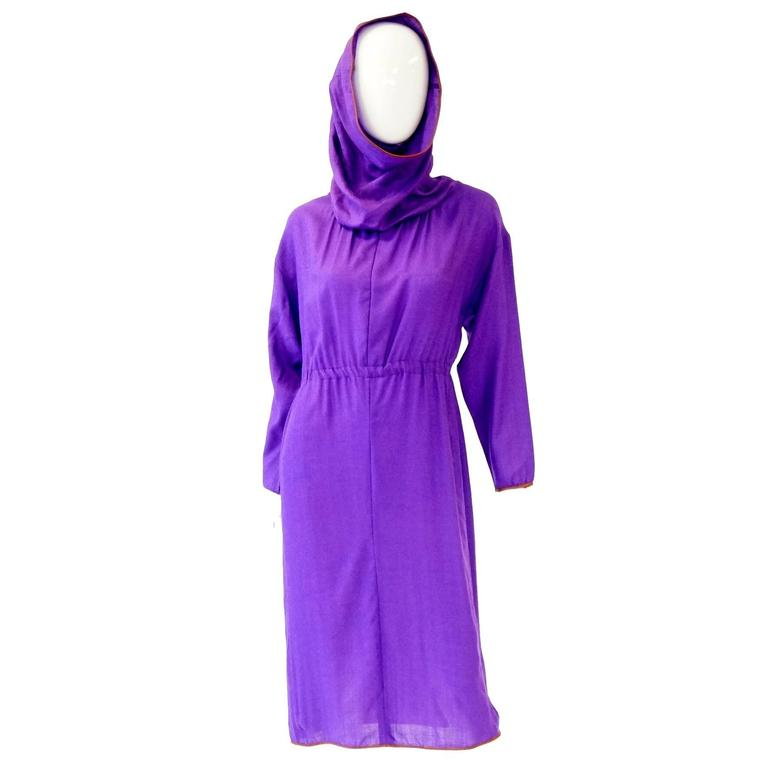 Late 20th Century Geoffrey Beene Purple Hooded Wool Dress  1