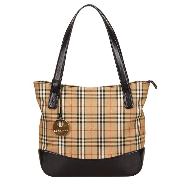 Burberry Brown Plaid Nylon Shoulder Bag At 1stdibs