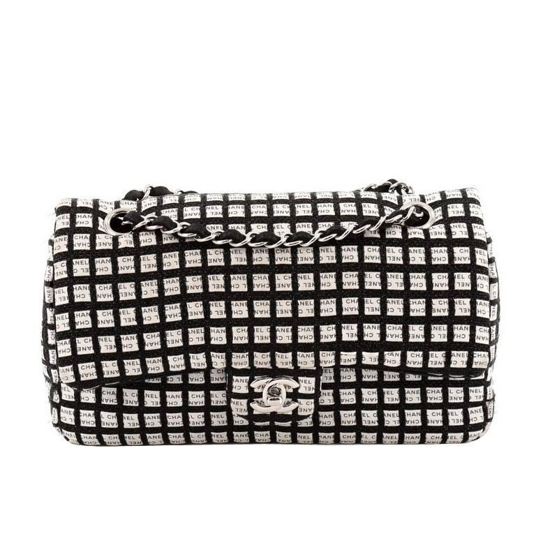 4c369676563b Chanel Classic Single Flap Printed Canvas with Ribbon Tweed Medium For Sale