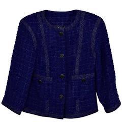 Classic Chanel Navy Boucle 3/4 Sleeve Jacket 38