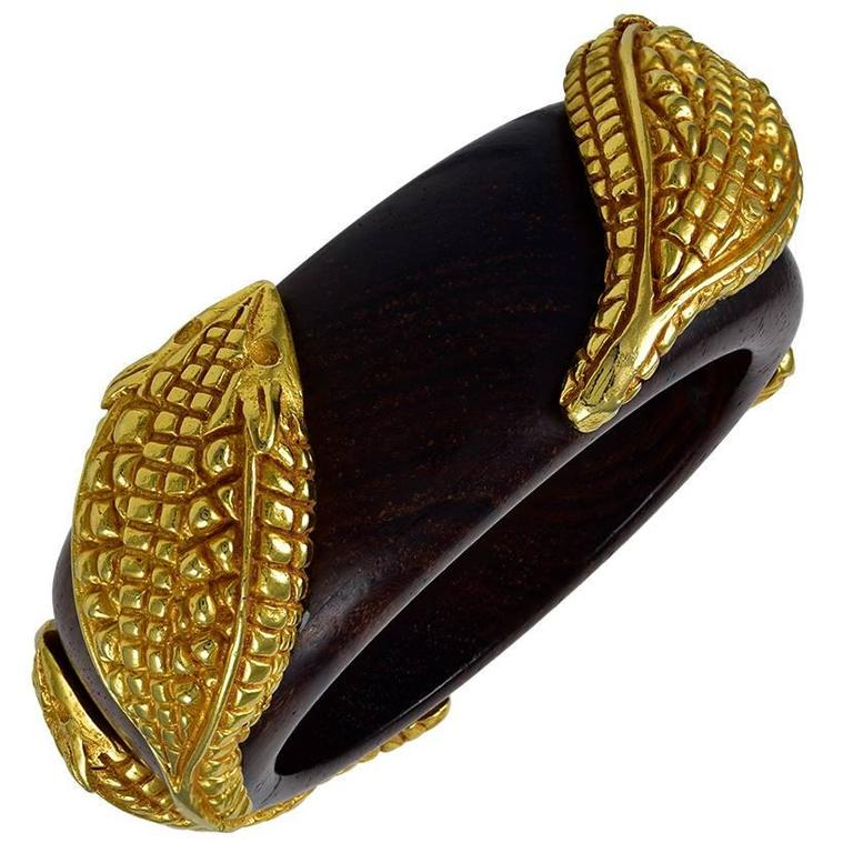 Fabulous Dominique Aurentis Snake Wood Bangle For Sale