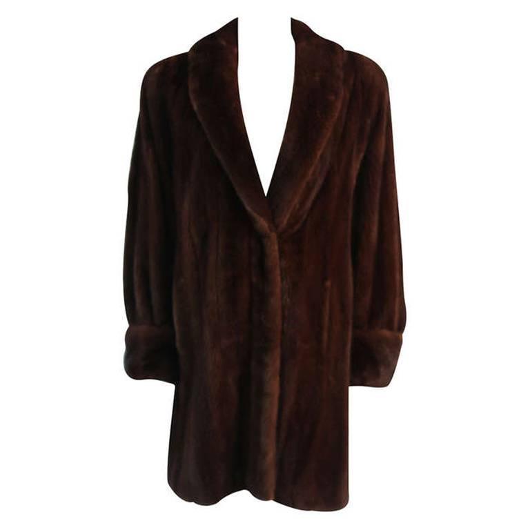 Luscious Somper Fur Couture Shawl Collar Mink 3/4 length Coat sz 6-8 1