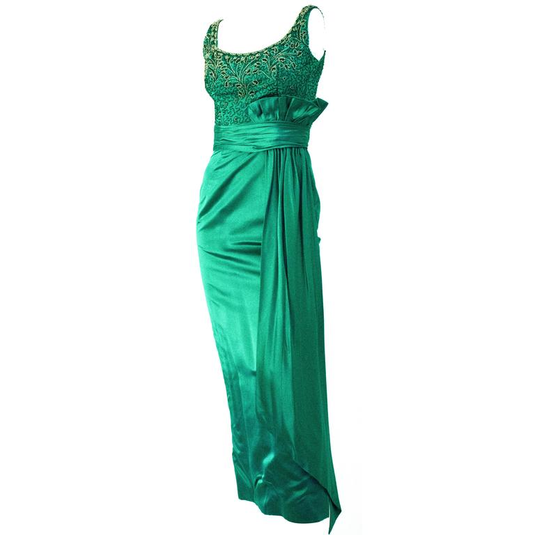 50s Green Satin Column Gown with Beaded Bodice and Gathered Waist Sash 1