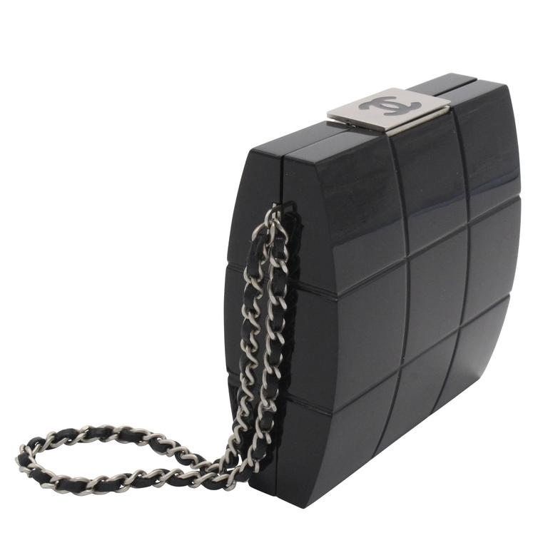 Chanel Black Perspex Lucite Minaudiere Clutch / Chain Wristlet Collectors For Sale