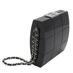Chanel Black Perspex Lucite Minaudiere Clutch / Chain Wristlet Collectors