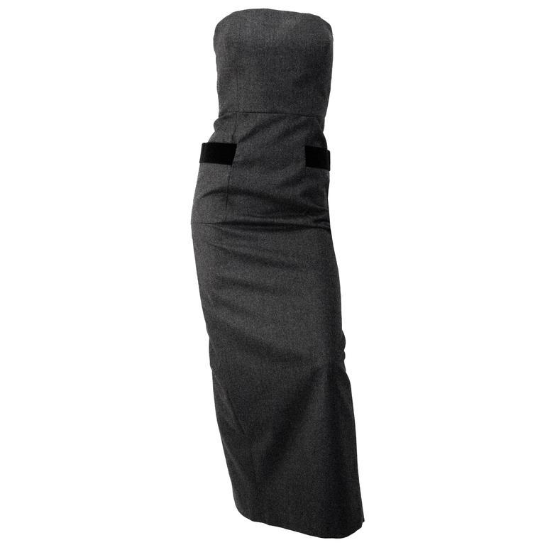 80s Isaac Mizrahi Charcoal Strapless Column Dress  For Sale