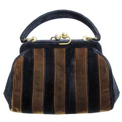 1960s Fendi Velvet Striped Bag - sale