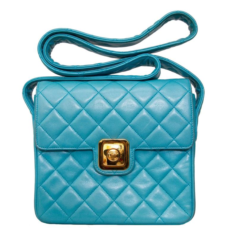 90s Turquoise Chanel Quilted Leather Shoulder Bag  For Sale