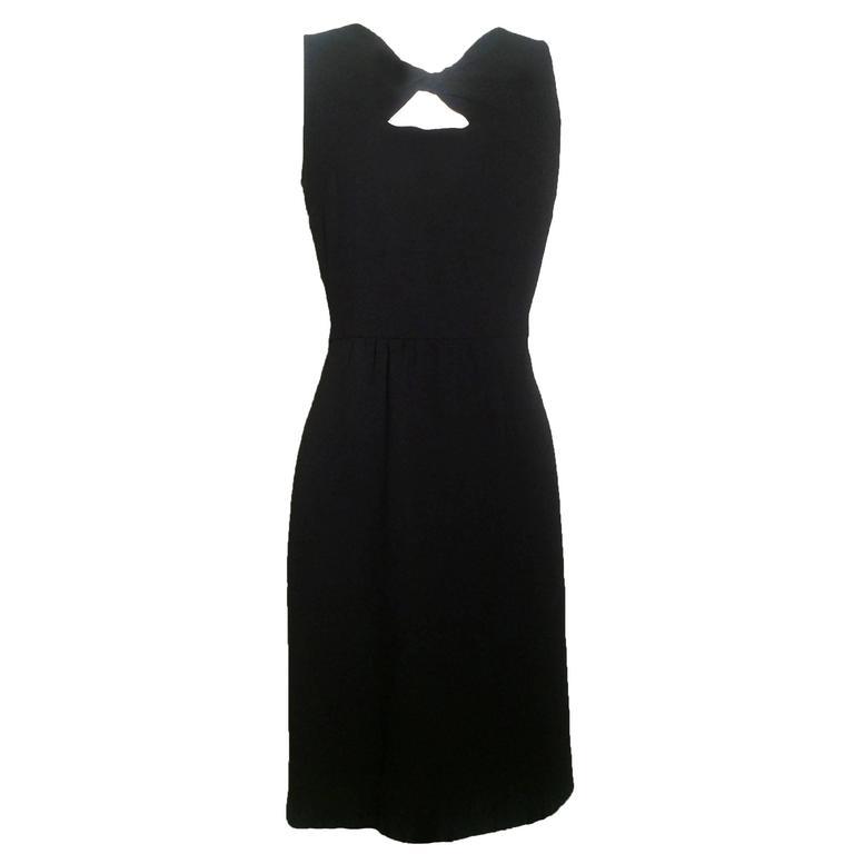 Oscar de la Renta Little Black Dress with Keyhole Twist Cutout Detail