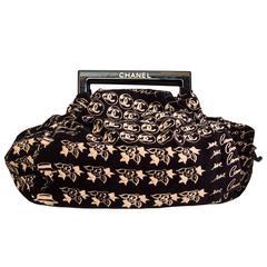 "A Chanel Black Velvel ""Coco"" Handbag"