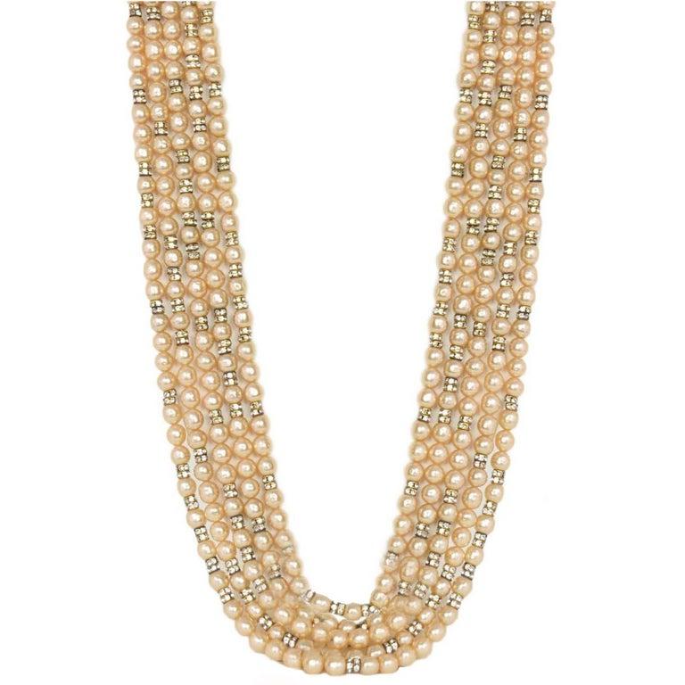 Chanel Vintage '90s Multi-Strand Pearl & Crystal Rondelle Necklace For Sale