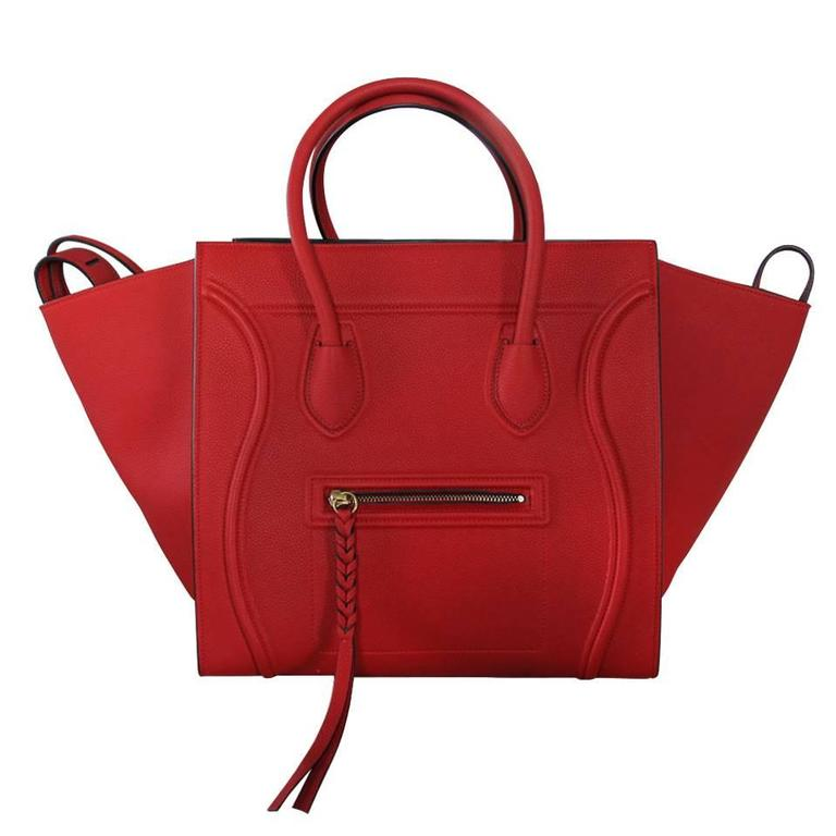 75384348b6a Celine Phantom Red Leather Limited Edition Luggage Tote Bag