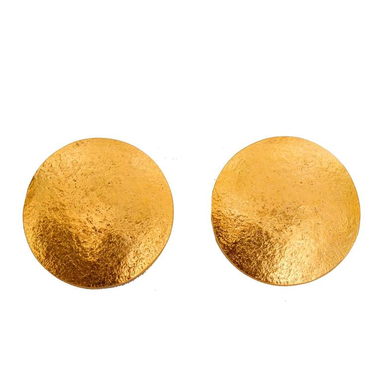 A pair of 1980s Large Jean Louis Sherrer Gold Toned Clip-On Earrings For Sale