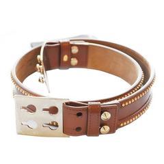 Fendi Studded Brown Leather Belt (Size 90)