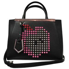 Fendi Small '2jours' Apple Studded Leather Black And Pink Tote Bag