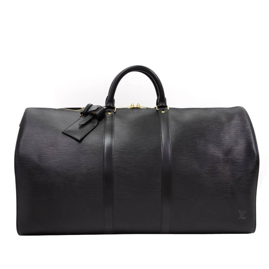 vintage louis vuitton keepall 55 black epi leather duffle travel bag for sale at 1stdibs