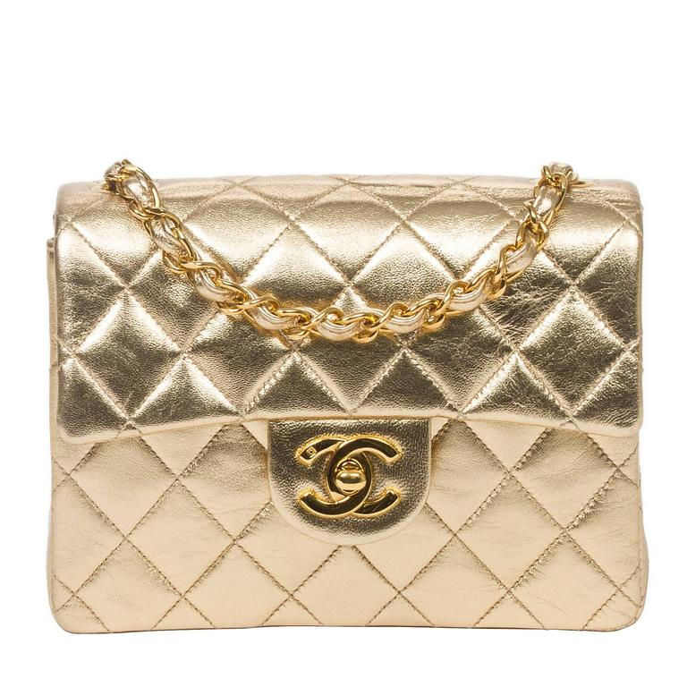 Chanel - Classic Mini Flap Metallic Gold Quilted Leather For Sale