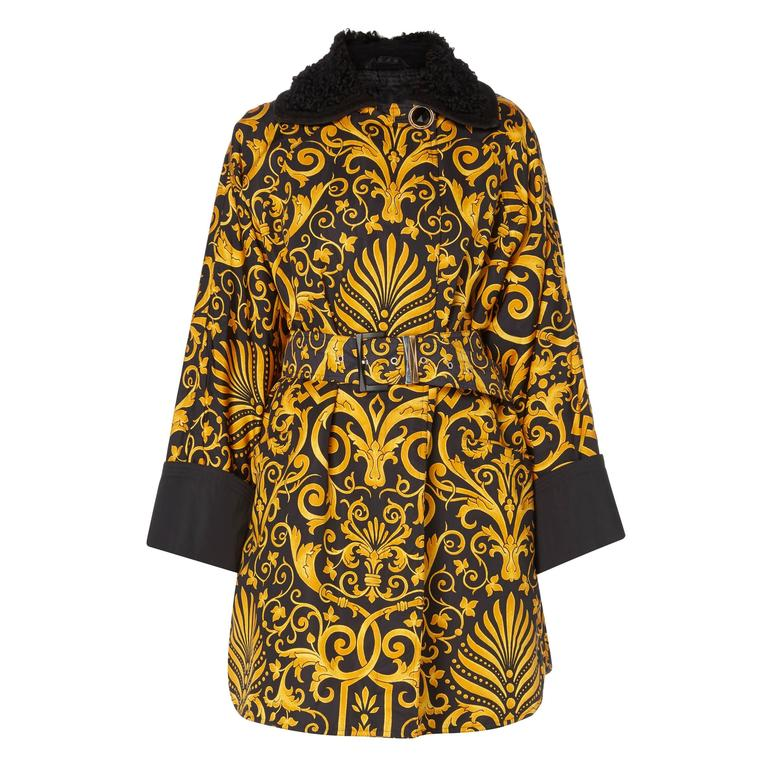 Versace Gold & black printed coat, Autumn/Winter 1991 For Sale