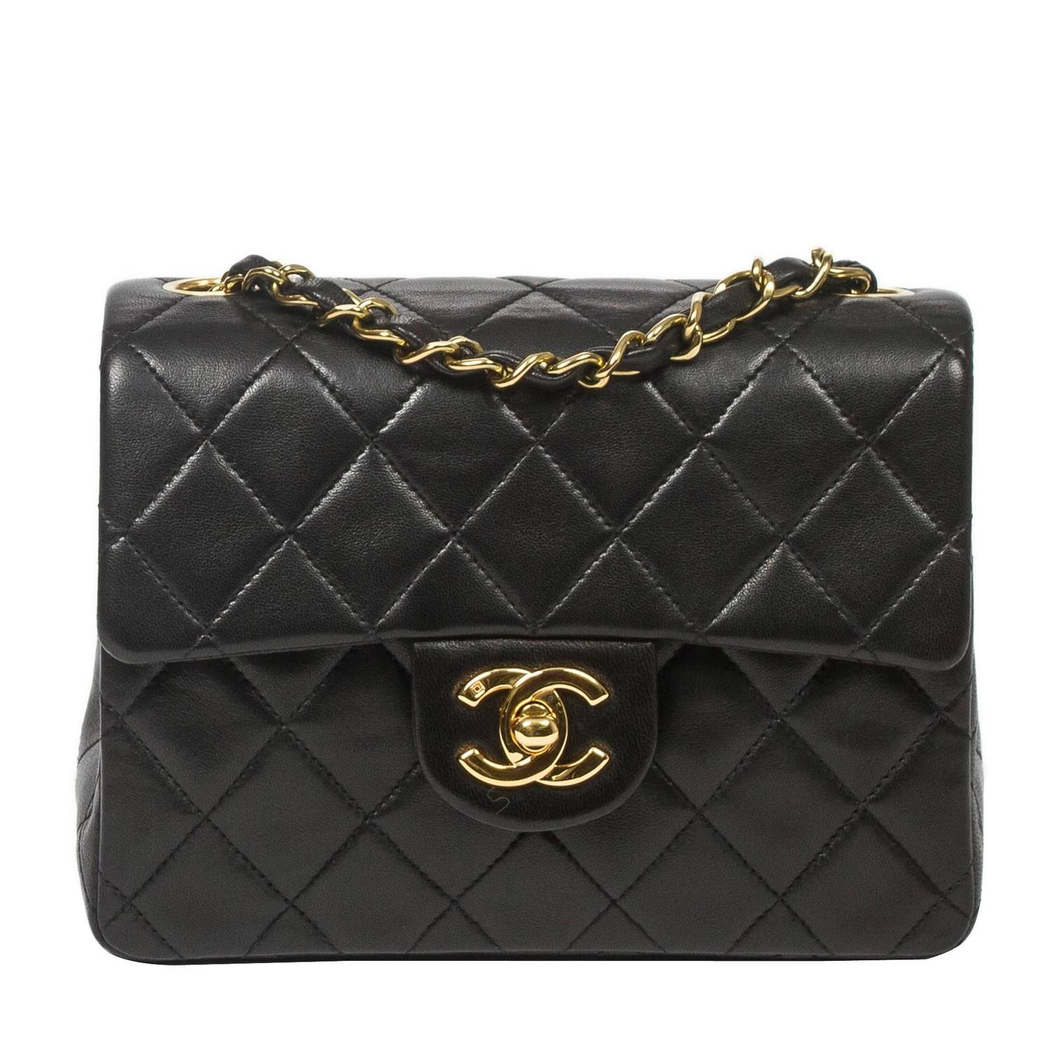 Chanel Classic Mini Flap Black Quilted Leather For Sale At 1stdibs