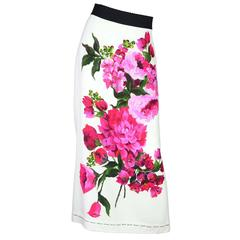 Dolce & Gabbana White Skirt with Floral Motif Sz 48 NWT rt. $1,395