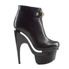 New Versace Signature Black Leather Boots with Triple Platform