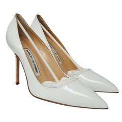 Manolo Blahnik Patent Leather Point-toe White Pumps (Size 6.5)