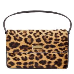 1950s Large Size Leopard and Black Leather Bag