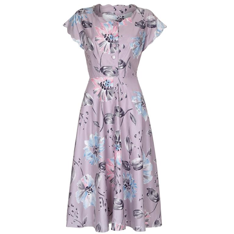 1950s Mauve Polished Cotton Floral Dress For Sale