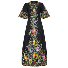 Extraordinary1960s Black Linen Dress with Raffia Embroidery