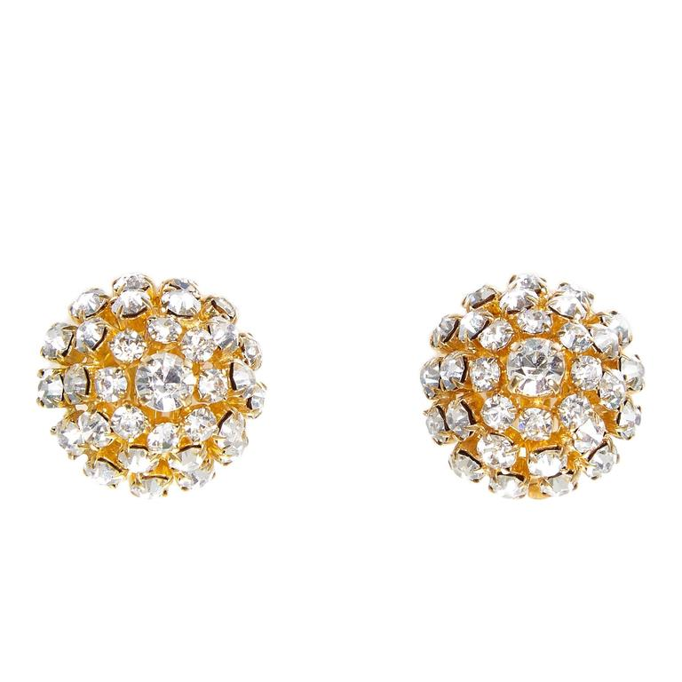 1965 Christian Dior Gold Plated Diamante Bombe Earrings 1