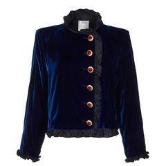 1980s Yves Saint Laurent Blue Velvet Smoking Jacket