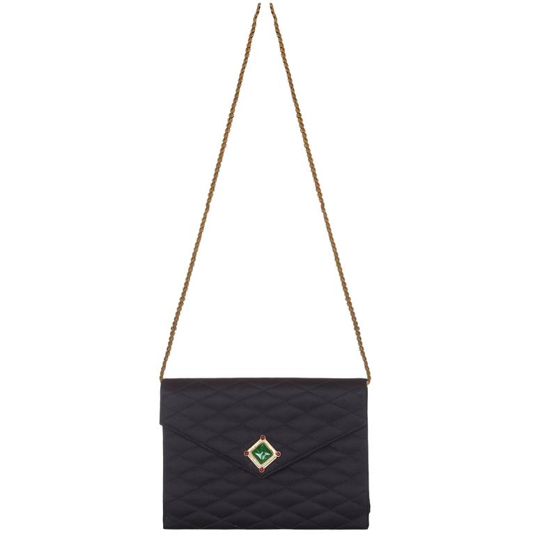 75c25e322ece Rare 1980s Chanel Black Satin Green Gripoix Stone Bag For Sale at ...