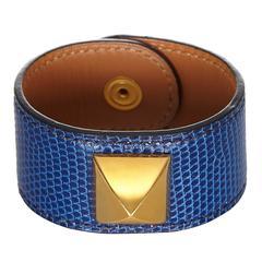 Hermes Blue Lizard Gold Medor Bracelet Cuff