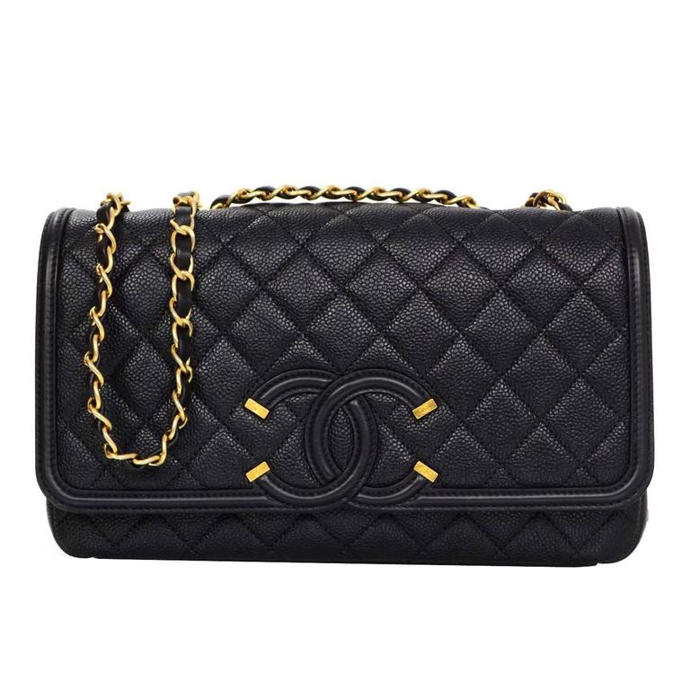 ad139de5c814 Chanel 2016 Black Quilted Caviar Leather Filigree CC Flap Bag For Sale