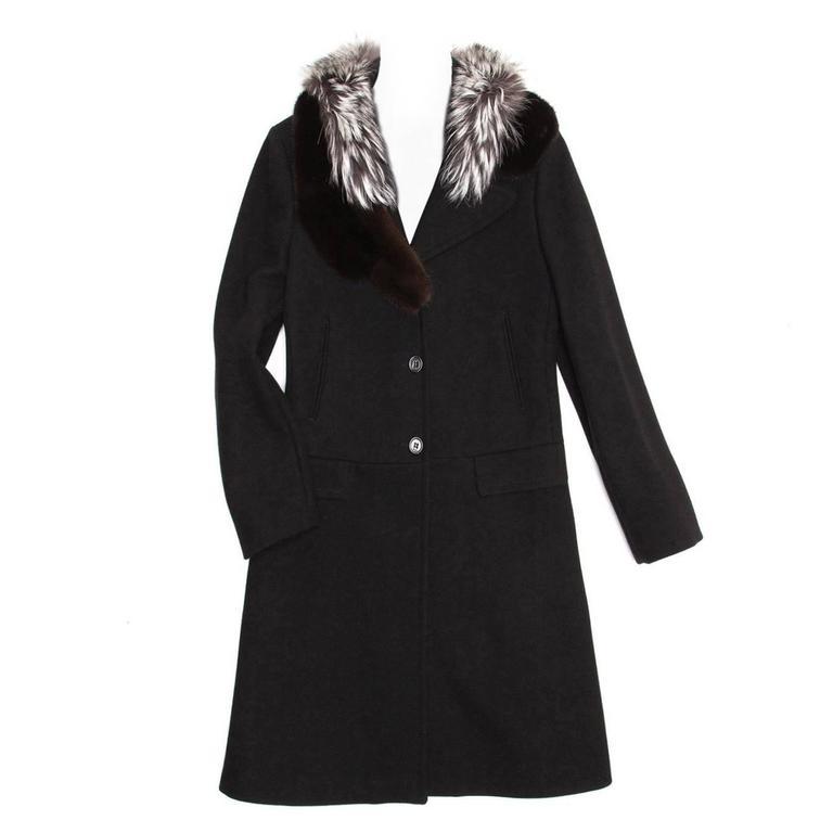 Prada Black Wool & Fur Collar Coat