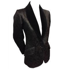 1970s Saint Laurent - Rive Gauche Black Matelassé Smoking Jacket w Velvet