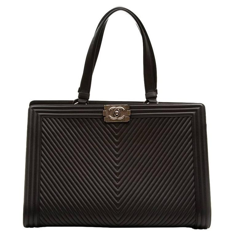 Chanel Black Chevron Leather Boy Shopper Tote Bag For Sale at 1stdibs